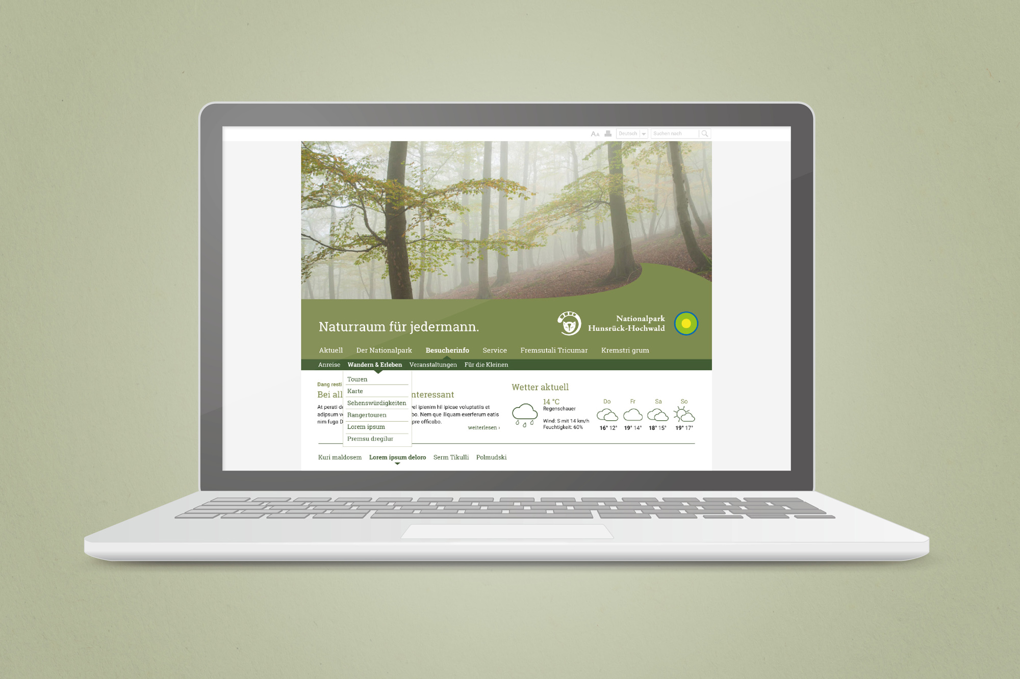Webdesign Nationalpark Hunsrück Hochwald